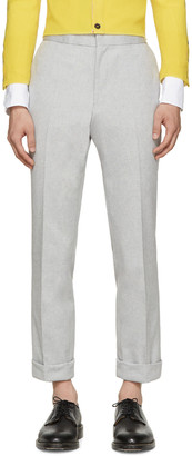 Thom Browne Grey Mélange Oxford Trousers $720 thestylecure.com