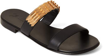 Giuseppe Zanotti Black Leather Double Band Slide Sandals