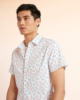 Express Slim Palm Tree Print Cotton Shirt
