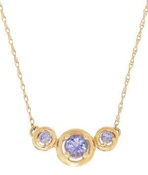 Lord & Taylor Tanzanite 14K Yellow Gold Three-Stone Necklace