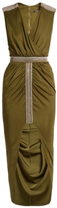 Balmain Wrap Front Embellished V Neck Dress - Womens - Khaki