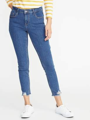 Old Navy Mid-Rise Rockstar Super Skinny Distressed Raw-Edge Jeans for Women