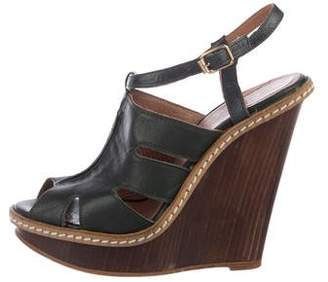 Andrea Gomez Leather Cage Wedges