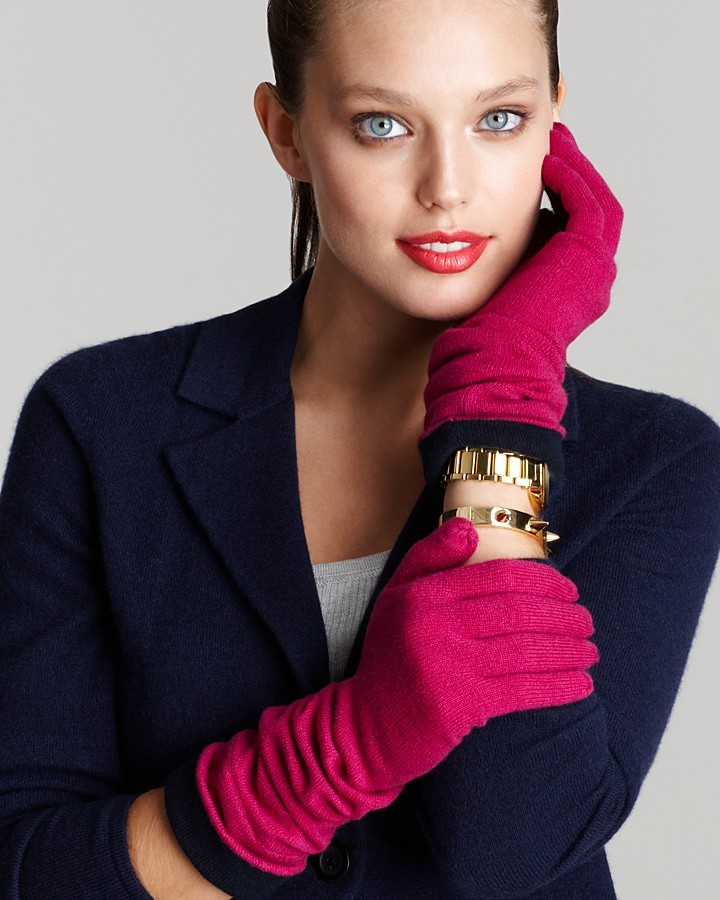 Magaschoni Cashmere Color Block Gloves