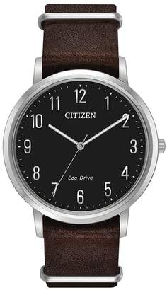 Citizen Men's Eco-Drive Quartz Stainless Steel and Leather Casual Watch, 40mm