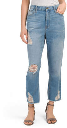 Juniors Destructed Mom Jeans
