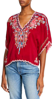 Johnny Was Plus Size Klarah V-Neck Embroidered Georgette Top w/ Lace Trim
