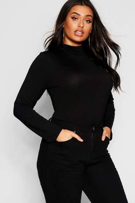boohoo Plus Rib Knit Turtle Neck Jumper