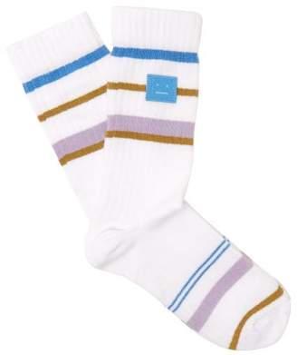 Acne Studios Striped Cotton Blend Socks - Womens - White Multi