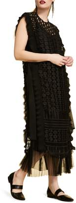 Marina Rinaldi Deciso Lace & Tulle Maxi Dress