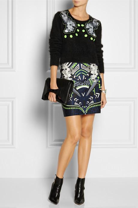 Emma Cook Appliquéd angora-blend sweater
