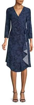 Halston H Three Quarter-Sleeve Printed Wrap Dress