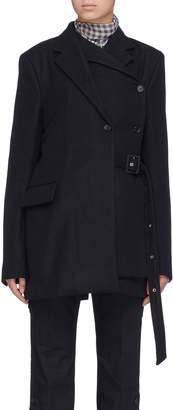 rokh Belted layered placket melton jacket
