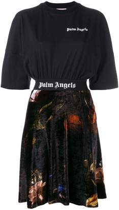 Palm Angels floral logo short-sleeve dress
