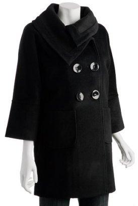 EPIC by Lori Glazer black angora-wool knit detail coat