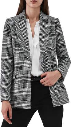 Reiss Langley Houndstooth Wool Blend Jacket