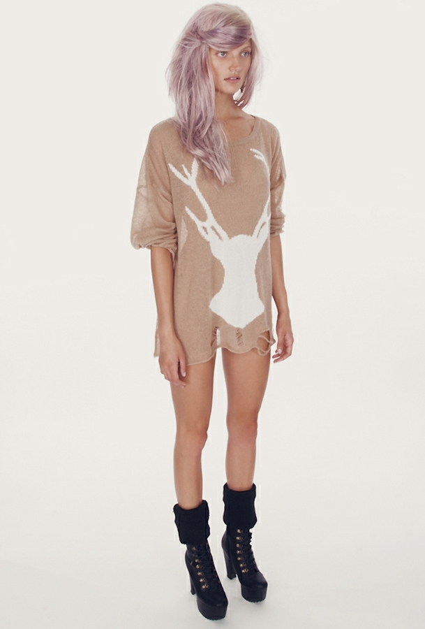 Wildfox White Label White Stag Lennon Sweater in Dust Storm