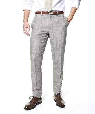 Todd Snyder Sutton Windowpane Linen Suit Trouser In Grey