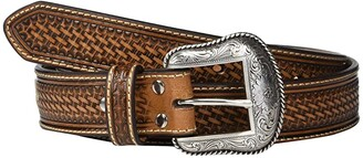 Nocona M&F Western Basketweave Emboss Belt w/ Rawhide Lacing