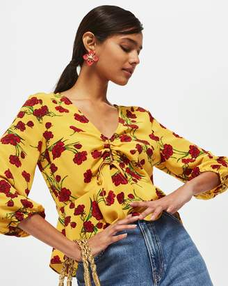 Topshop Floral Print Ruched Keyhole Blouse