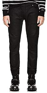 Balmain Men's Waxed Biker Skinny Jeans - Black