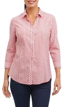 Foxcroft Hope Preppy Stripe Cotton Shirt