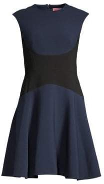 Kate Spade Women's Colorblock Fit& Flare Crepe Dress - Parisian Navy - Size 0
