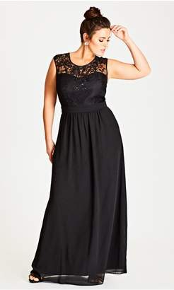 City Chic Citychic Beaded Lace Maxi Dress