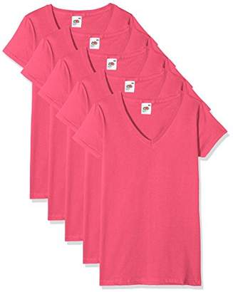 34b5fb11 Fruit of the Loom Women's Valueweight V Neck Lady-Fit 5 T-Shirt,