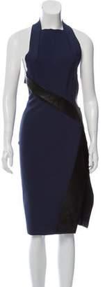 Dion Lee Leather-Trimmed Open Back Dress