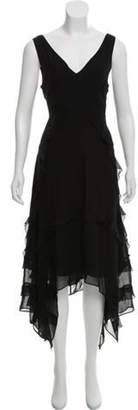 Elizabeth and James Silk Ruffle-Accented Dress Black Silk Ruffle-Accented Dress