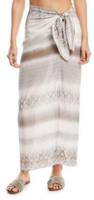 Marie France Van Damme Sarong Tie-Waist Long Skirt