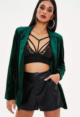 Missguided Green Velvet Tie Blazer