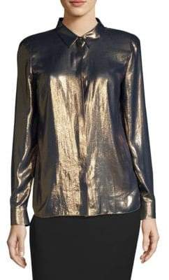Elie Tahari Macklyn Metallic Silk Blouse