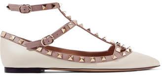 Valentino Garavani The Rockstud Leather Point-toe Flats - Ivory