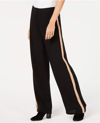 Eileen Fisher Side-Stripe Silk Wide-Leg Pants, Regular and Petite