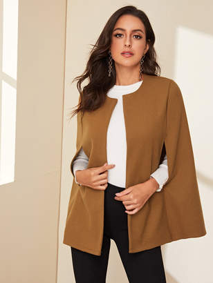 Shein Open Front Solid Cape Outerwear