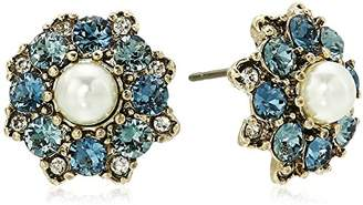 Marchesa Women's Gold/ Multi Cluster Stud Earrings