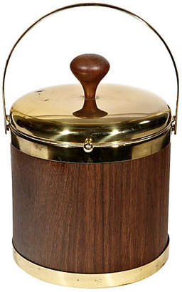 One Kings Lane Vintage 1960s Gilt & Wood-Accented Ice Bucket