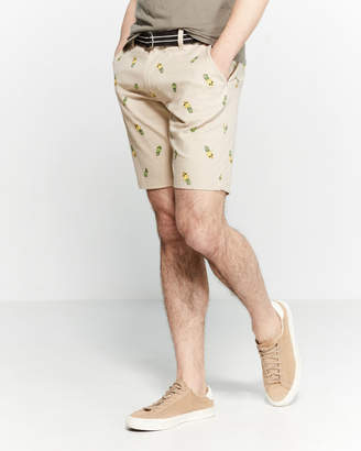 Raw Yarn Industries Skull Pineapple Belted Stretch Twill Shorts