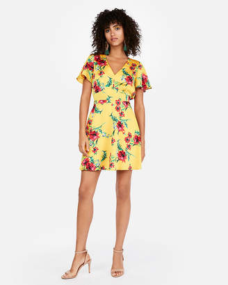 Express Elastic Waist V-Neck Fit And Flare Dress