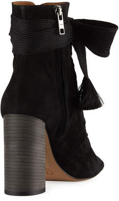Chloé Suede Peep-Toe Lace-Up Booties