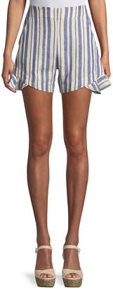 Johanna Ortiz Striped Linen Shorts w/ Ruffle Detail