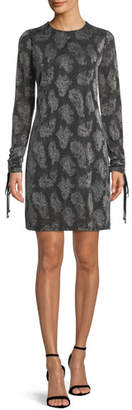 MICHAEL Michael Kors Drawstring-Sleeve Jewel-Neck Metallic Paisley Jacquard Dress