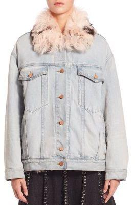 Alexander Wang Shearling-Collar Denim Jacket $2,250 thestylecure.com
