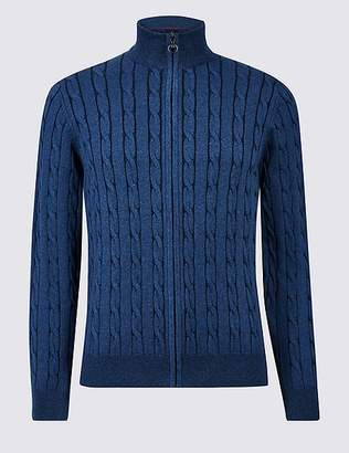 Marks and Spencer Cotton with Cashmere Zip Through Cardigan
