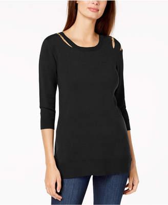 Love Scarlett Petite Cold-Shoulder Sweater