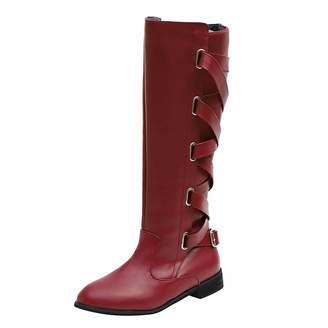 61e6ffbf396 Knee High Boots For Women Wide Calf Leather Liraly Ladies Shoes Buckle  Roman Riding Martin Long