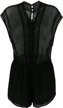 IRO sheer lace-up playsuit