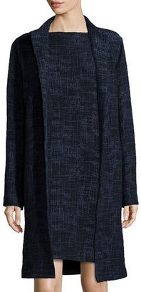 Eileen Fisher Long Crosshatch Topper Jacket, Midnight, Plus Size $398 thestylecure.com